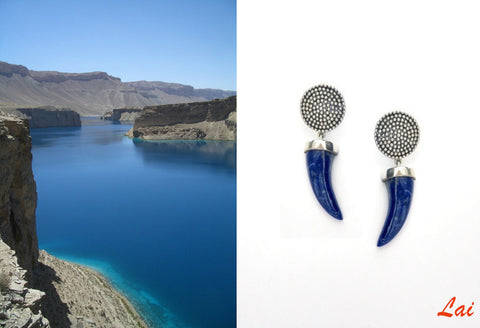 Arresting, claw-shaped, hand carved lapis earrings
