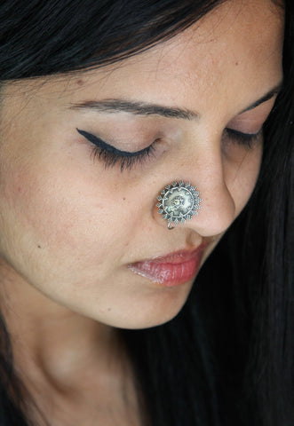 Dramatic, boho-chic, granulation work nose pin  Nose pin Sterling silver handcrafted jewellery. 925 pure silver jewellery. Earrings, nose pins, rings, necklaces, cufflinks, pendants, jhumkas, gold plated, bidri, gemstone jewellery. Handmade in India, fair trade, artisan jewellery.
