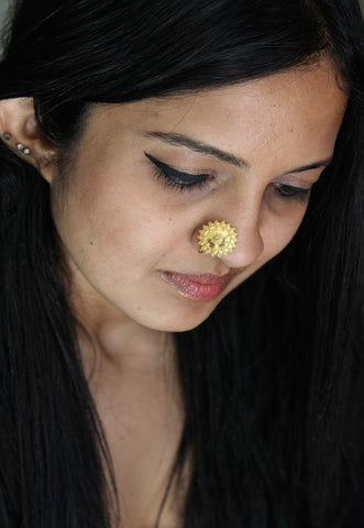 Gold-plated, festive, granulation work nose pin  Nose pin Sterling silver handcrafted jewellery. 925 pure silver jewellery. Earrings, nose pins, rings, necklaces, cufflinks, pendants, jhumkas, gold plated, bidri, gemstone jewellery. Handmade in India, fair trade, artisan jewellery.
