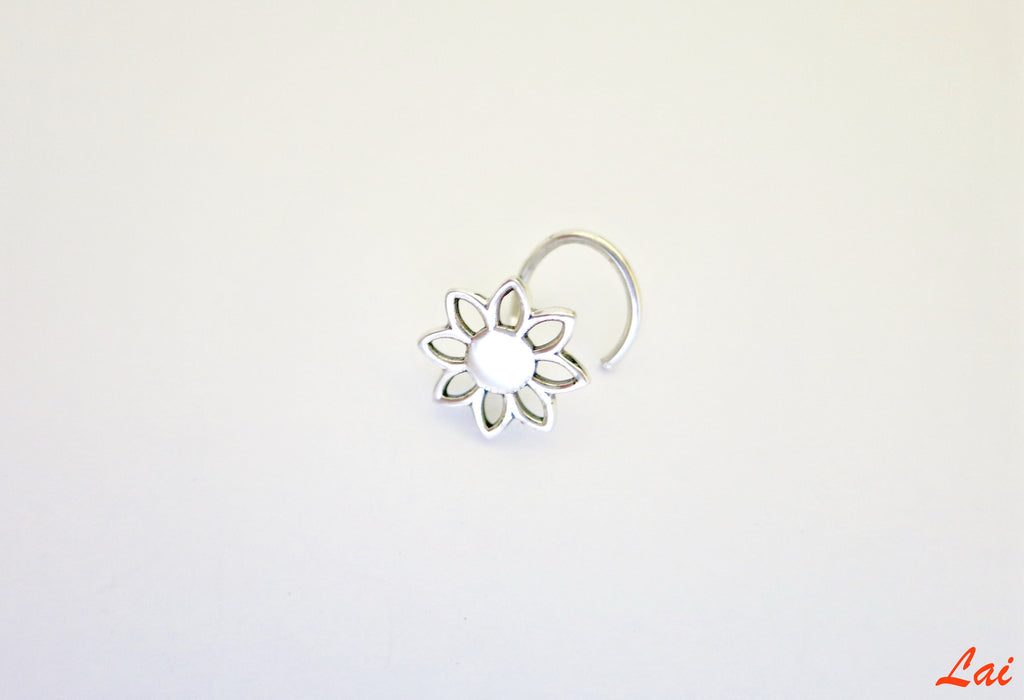 Minimalist floral cut out nose pin (PB-014-NP)  Nose pin Sterling silver handcrafted jewellery. 925 pure silver jewellery. Earrings, nose pins, rings, necklaces, cufflinks, pendants, jhumkas, gold plated, bidri, gemstone jewellery. Handmade in India, fair trade, artisan jewellery.