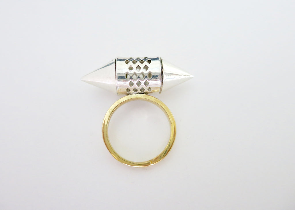 Exquisite, sterling silver tubular amuletic ring with conical ends and a gold plated brass shank (PB-MM1074-R)  Ring Lai designer sterling silver 925 jewelry that is global culture inspired artisanal handcrafted handmade contemporary sustainable conscious fair trade online brand shop
