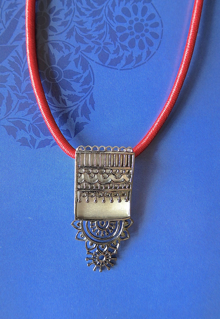 Intricate long rectangular pendant with black rhodium plated mehndi inspired detailing (PBS-4538-P)  Necklace, Pendant Lai designer sterling silver 925 jewelry that is global culture inspired artisanal handcrafted handmade contemporary sustainable conscious fair trade online brand shop
