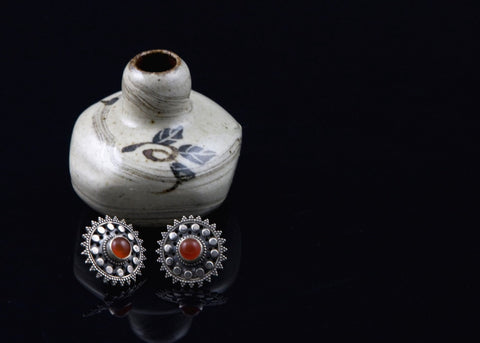 Timeless and elegant, round Kashmiri carnelian studs  Earrings Sterling silver handcrafted jewellery. 925 pure silver jewellery. Earrings, nose pins, rings, necklaces, cufflinks, pendants, jhumkas, gold plated, bidri, gemstone jewellery. Handmade in India, fair trade, artisan jewellery.