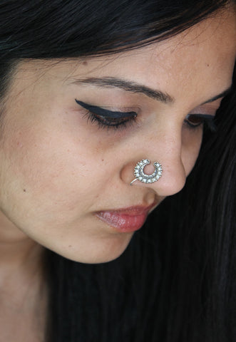 Exquisite, crescent shape, pearls encrusted nose pin  Nose pin Sterling silver handcrafted jewellery. 925 pure silver jewellery. Earrings, nose pins, rings, necklaces, cufflinks, pendants, jhumkas, gold plated, bidri, gemstone jewellery. Handmade in India, fair trade, artisan jewellery.