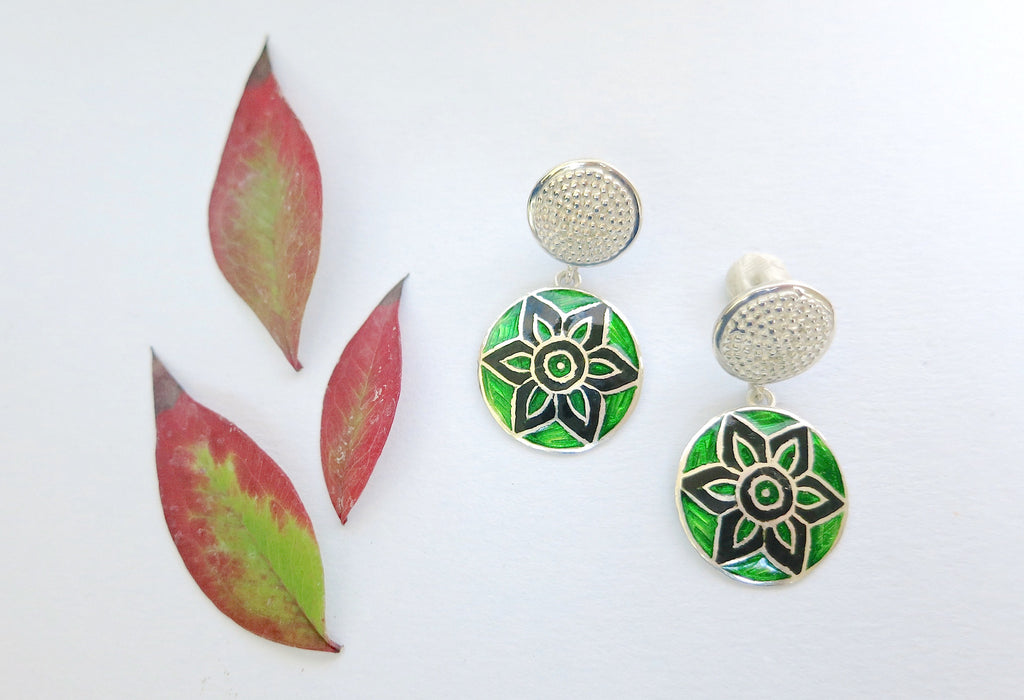Graceful round dangle earrings in green & black Nathdwara enamel (PB-7811-ER)  Earrings Lai designer sterling silver 925 jewelry that is global culture inspired artisanal handcrafted handmade contemporary sustainable conscious fair trade online brand shop