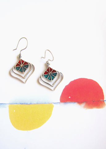Wear-them-with-everything, turquoise and red enamel earrings