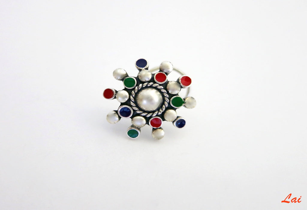 Stunning multi colour enamel nose pin (PB-018-NP) - Lai - 1