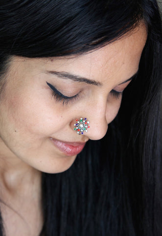 Stunning multi colour enamel nose pin (PB-018-NP)  Nose pin Sterling silver handcrafted jewellery. 925 pure silver jewellery. Earrings, nose pins, rings, necklaces, cufflinks, pendants, jhumkas, gold plated, bidri, gemstone jewellery. Handmade in India, fair trade, artisan jewellery.