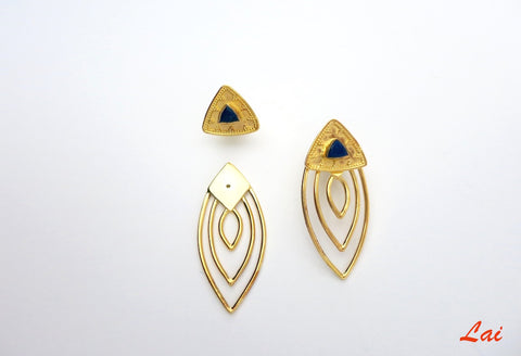 Gold-plated, front and back, detachable earrings that can be worn 2-ways