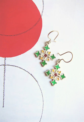 Playful, rangoli-inspired, cross motif enamel earrings