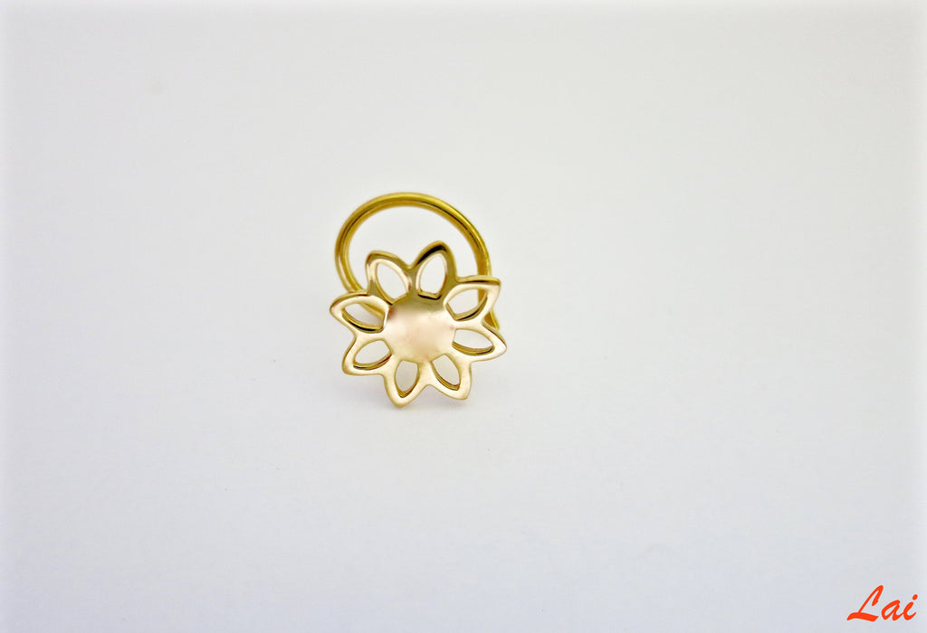 Gold-plated, minimalist, floral outline nose pin  Nose pin Sterling silver handcrafted jewellery. 925 pure silver jewellery. Earrings, nose pins, rings, necklaces, cufflinks, pendants, jhumkas, gold plated, bidri, gemstone jewellery. Handmade in India, fair trade, artisan jewellery.