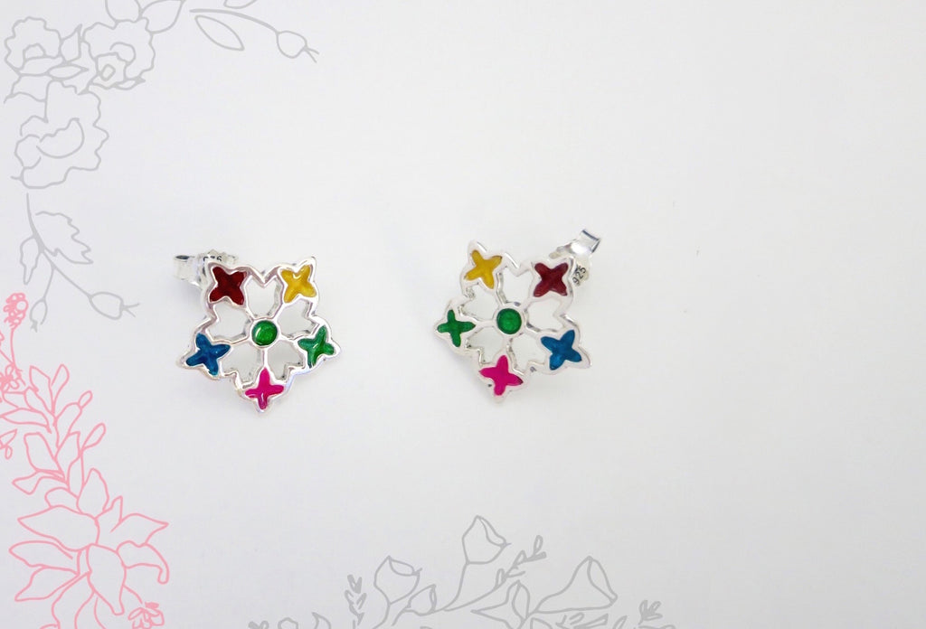 Dainty, goes-with-everything, multi-colour enamel flower studs  Earrings Sterling silver handcrafted jewellery. 925 pure silver jewellery. Earrings, nose pins, rings, necklaces, cufflinks, pendants, jhumkas, gold plated, bidri, gemstone jewellery. Handmade in India, fair trade, artisan jewellery.