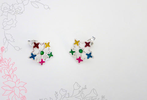 Dainty multi colour enamel flower studs (PB-4193-ER)
