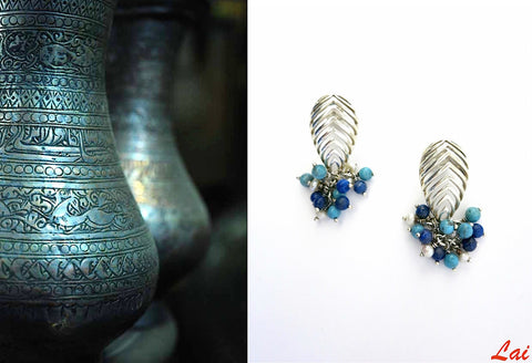 Striking, cut-work earrings with lapis, turquoise and pearls cluster