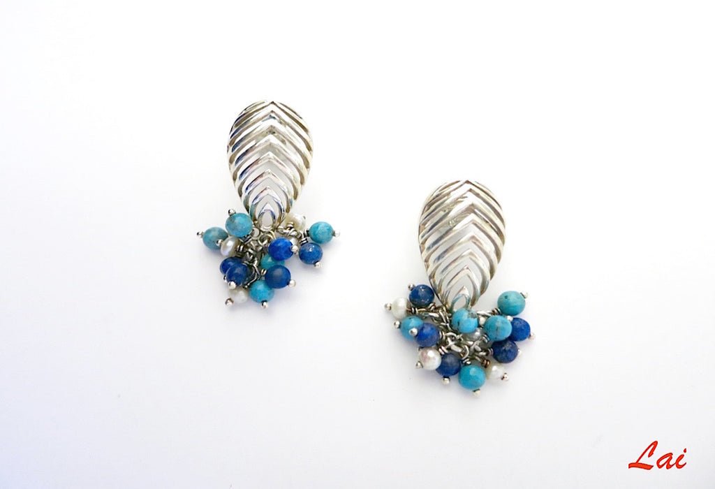 Striking cut work earrings with lapis, turquoise & pearls cluster (PB-9829-ER) - Lai - 2