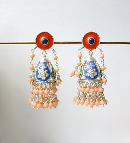 Gorgeous Himachali enamel jhumka with lapis & pink corals (PB-9533-ER) Earrings Sterling silver handcrafted jewellery. 925 pure silver jewellery. Earrings, nose pins, rings, necklaces, cufflinks, pendants, jhumkas, gold plated, bidri, gemstone jewellery. Handmade in India, fair trade, artisan jewellery.