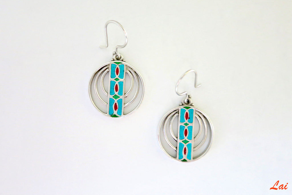Chic concentric circle enamel earrings (PB-4194-ER)  Earrings Sterling silver handcrafted jewellery. 925 pure silver jewellery. Earrings, nose pins, rings, necklaces, cufflinks, pendants, jhumkas, gold plated, bidri, gemstone jewellery. Handmade in India, fair trade, artisan jewellery.