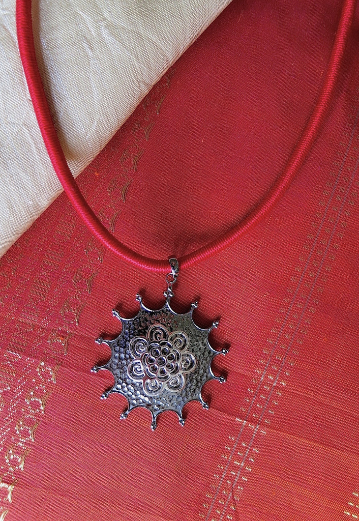 Elegant hammer finish black rhodium plated starburst pendant (PBS-4540-P)  Necklace, Pendant Sterling silver handcrafted jewellery. 925 pure silver jewellery. Earrings, nose pins, rings, necklaces, cufflinks, pendants, jhumkas, gold plated, bidri, gemstone jewellery. Handmade in India, fair trade, artisan jewellery.