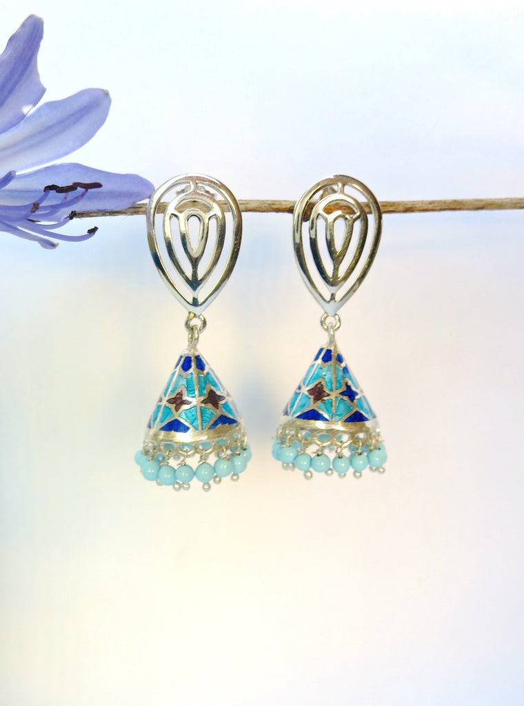 Chic conical blue Nathdwara enameling jhumkas (PB-7817-ER)  Earrings Sterling silver handcrafted jewellery. 925 pure silver jewellery. Earrings, nose pins, rings, necklaces, cufflinks, pendants, jhumkas, gold plated, bidri, gemstone jewellery. Handmade in India, fair trade, artisan jewellery.