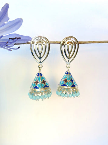 Chic conical blue Nathdwara enamel jhumkas (PB-7817-ER)  Earrings Sterling silver handcrafted jewellery. 925 pure silver jewellery. Earrings, nose pins, rings, necklaces, cufflinks, pendants, jhumkas, gold plated, bidri, gemstone jewellery. Handmade in India, fair trade, artisan jewellery.