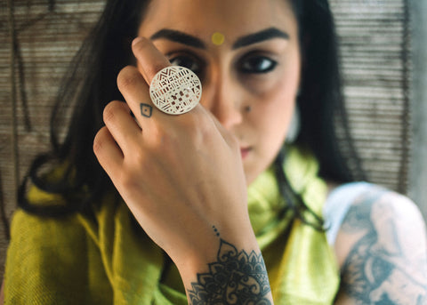 Everything Is A Choice [Ring] (PB-1292-R)  Ring Sterling silver handcrafted jewellery. 925 pure silver jewellery. Earrings, nose pins, rings, necklaces, cufflinks, pendants, jhumkas, gold plated, bidri, gemstone jewellery. Handmade in India, fair trade, artisan jewellery.