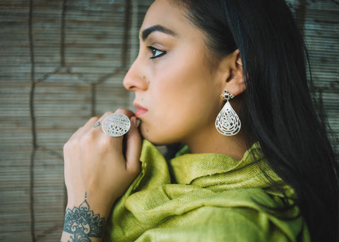 Live, Love, Laugh (PB-1340-ER)  Earrings Sterling silver handcrafted jewellery. 925 pure silver jewellery. Earrings, nose pins, rings, necklaces, cufflinks, pendants, jhumkas, gold plated, bidri, gemstone jewellery. Handmade in India, fair trade, artisan jewellery.