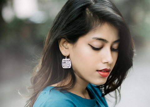 Free To Be Me (PB-10786-ER)  Earrings Sterling silver handcrafted jewellery. 925 pure silver jewellery. Earrings, nose pins, rings, necklaces, cufflinks, pendants, jhumkas, gold plated, bidri, gemstone jewellery. Handmade in India, fair trade, artisan jewellery.