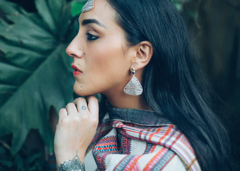 One Life, Many Adventures (PB-1311-ER)  Earrings Sterling silver handcrafted jewellery. 925 pure silver jewellery. Earrings, nose pins, rings, necklaces, cufflinks, pendants, jhumkas, gold plated, bidri, gemstone jewellery. Handmade in India, fair trade, artisan jewellery.