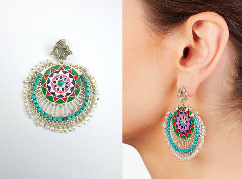 Magnificent Himachali statement enamel, turquoise & pearls chandbala earrings (PB-9542-ER) Earrings Sterling silver handcrafted jewellery. 925 pure silver jewellery. Earrings, nose pins, rings, necklaces, cufflinks, pendants, jhumkas, gold plated, bidri, gemstone jewellery. Handmade in India, fair trade, artisan jewellery.
