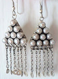 Ethereal Kashmiri triangular pearl fringe earrings (PB-1480-ER) - Lai - 2