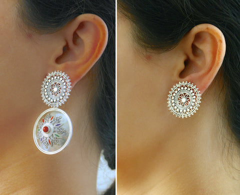 Magnificent, statement earrings with a detachable filigree top  Earrings Sterling silver handcrafted jewellery. 925 pure silver jewellery. Earrings, nose pins, rings, necklaces, cufflinks, pendants, jhumkas, gold plated, bidri, gemstone jewellery. Handmade in India, fair trade, artisan jewellery.