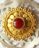 Regal Marrakesh inspired round earrings in satin finish with carnelian & gold plated detailing [HE1-1000 (V1)] -  - 2