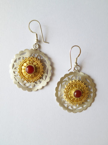 Regal, Marrakesh inspired, round earrings in satin finish with carnelian and gold plated detailing