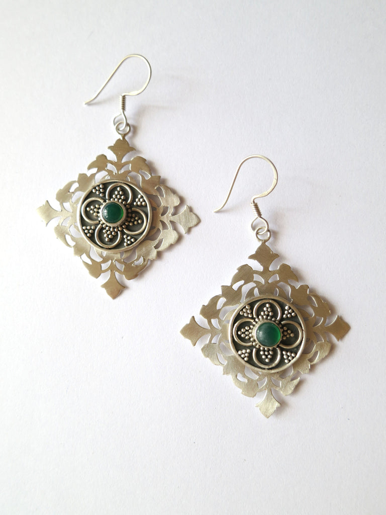 Elegant kite shape cut work earrings in satin finish with chrysoprase & oxidized detailing [HE1-1308 (V2)]  Earrings Sterling silver handcrafted jewellery. 925 pure silver jewellery. Earrings, nose pins, rings, necklaces, cufflinks, pendants, jhumkas, gold plated, bidri, gemstone jewellery. Handmade in India, fair trade, artisan jewellery.