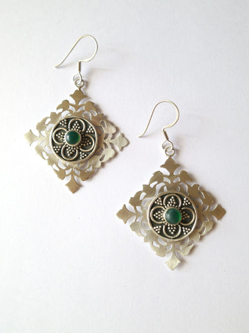 Elegant, kite shape cut-work earrings in satin finish with chrysoprase and oxidized granulation detailing