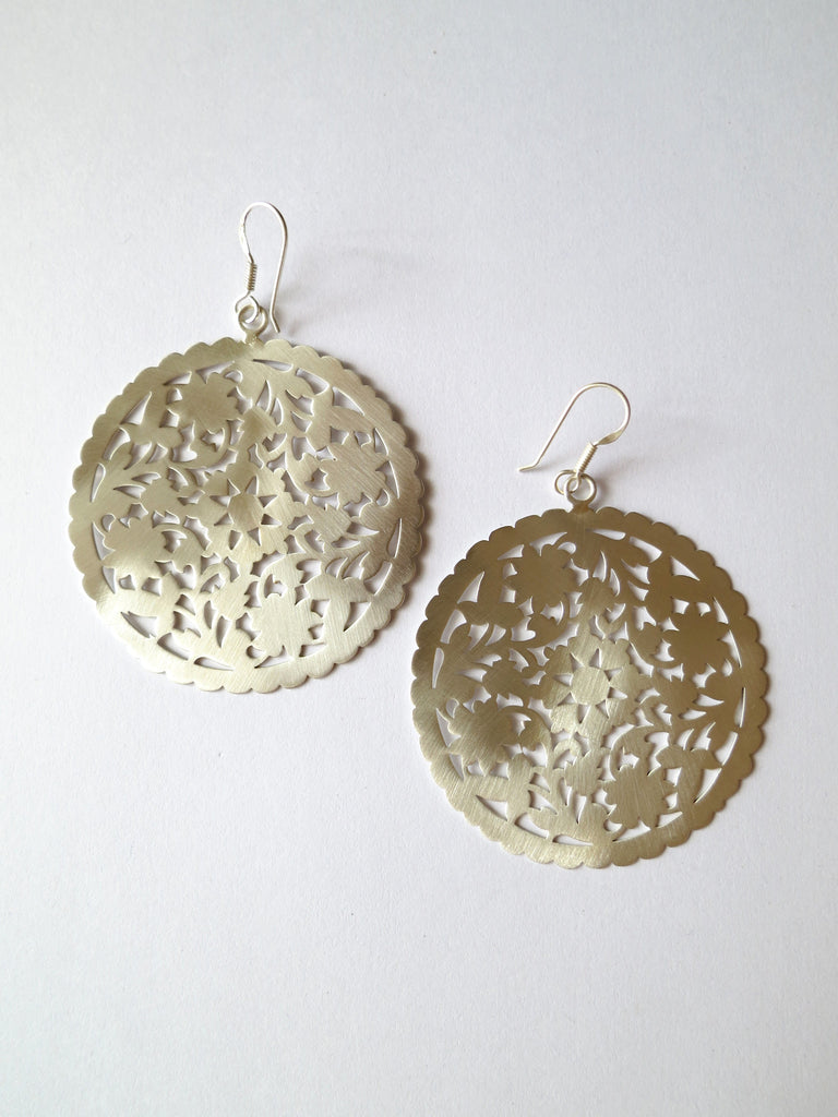 Dramatic, Marrakesh inspired, big round floral pattern cut-out earrings in satin finish  Earrings Sterling silver handcrafted jewellery. 925 pure silver jewellery. Earrings, nose pins, rings, necklaces, cufflinks, pendants, jhumkas, gold plated, bidri, gemstone jewellery. Handmade in India, fair trade, artisan jewellery.