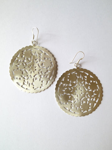 Dramatic, Marrakesh inspired, big round floral pattern cut-out earrings in satin finish
