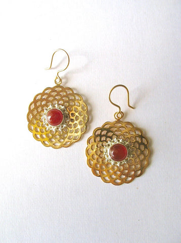 Chic two tone gold plated scallop cut out earrings with carnelian & silver detailing [HE1-1328 (V1)]