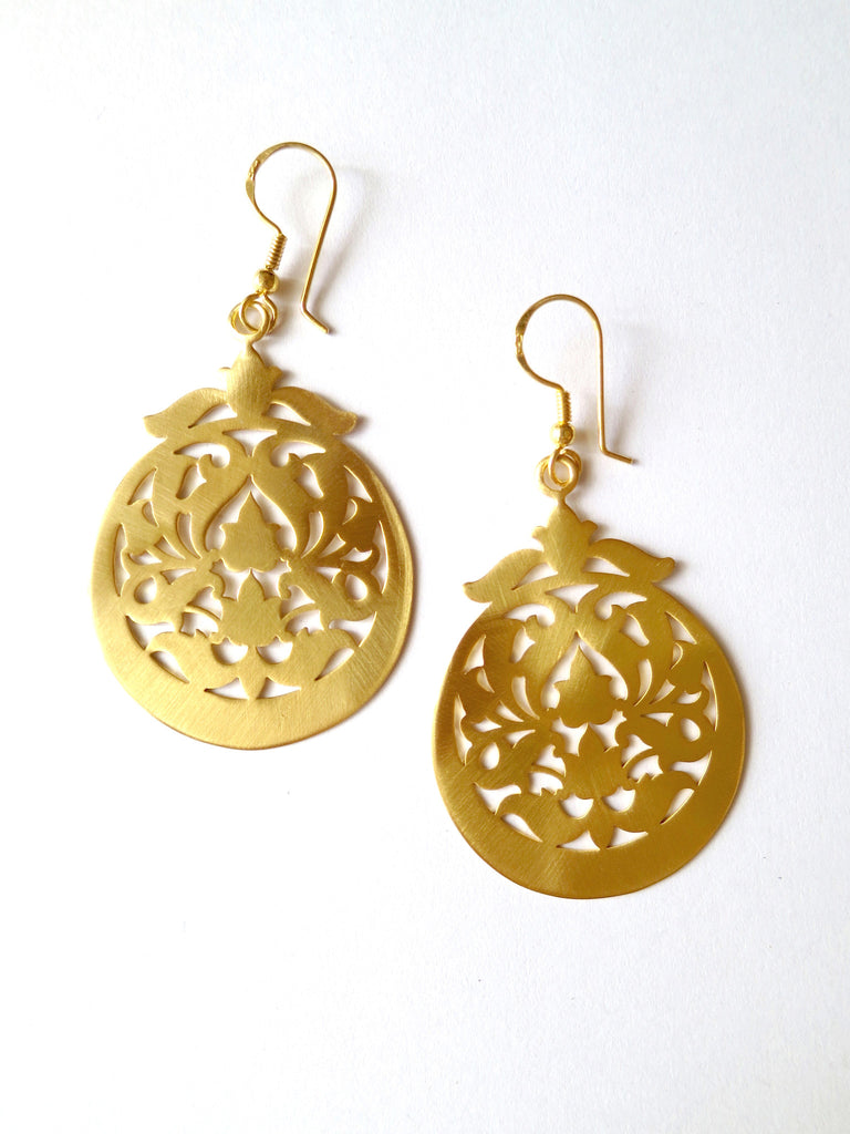 Beautiful floral pattern cut out drop shape gold plated earrings (HE4-1303)  Earrings Sterling silver handcrafted jewellery. 925 pure silver jewellery. Earrings, nose pins, rings, necklaces, cufflinks, pendants, jhumkas, gold plated, bidri, gemstone jewellery. Handmade in India, fair trade, artisan jewellery.
