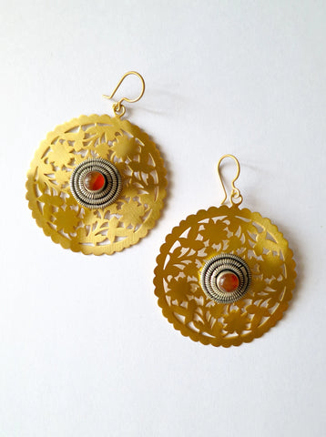 Stunning, large, round gold-plated, dual-tone, cut-work earrings with carnelian center