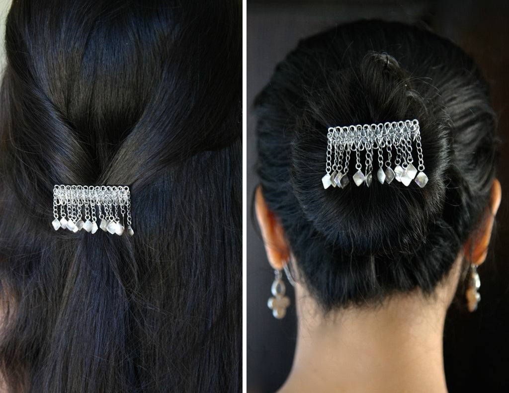 Magnificent, traditional Kashmiri hair clip  Hair ornament Sterling silver handcrafted jewellery. 925 pure silver jewellery. Earrings, nose pins, rings, necklaces, cufflinks, pendants, jhumkas, gold plated, bidri, gemstone jewellery. Handmade in India, fair trade, artisan jewellery.