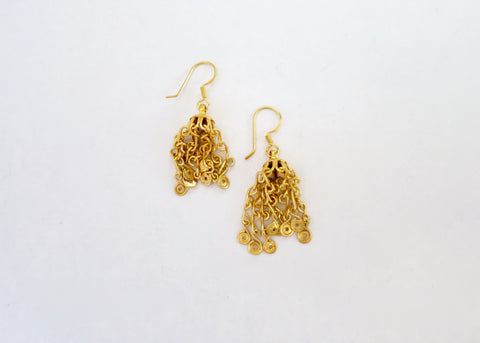 Elegant, gold-plated Kashmiri jhumkis with handcrafted chains (PBE-1016-ER)  Earrings Sterling silver handcrafted jewellery. 925 pure silver jewellery. Earrings, nose pins, rings, necklaces, cufflinks, pendants, jhumkas, gold plated, bidri, gemstone jewellery. Handmade in India, fair trade, artisan jewellery.