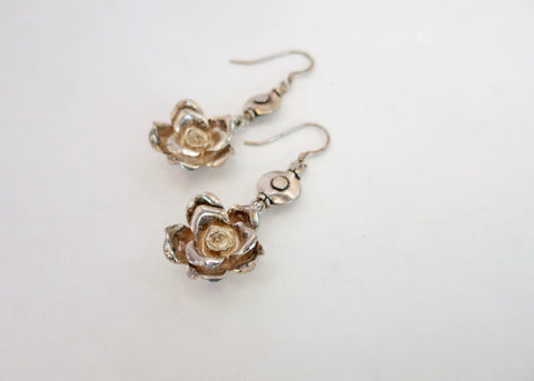 Artistic, whimsical, sculptured rose earrings (PBE-1026-ER)  Earrings Sterling silver handcrafted jewellery. 925 pure silver jewellery. Earrings, nose pins, rings, necklaces, cufflinks, pendants, jhumkas, gold plated, bidri, gemstone jewellery. Handmade in India, fair trade, artisan jewellery.