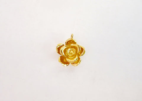Beautiful, sculptured, gold plated rose pendant (PBE-1027-P)  Necklace, Pendant Sterling silver handcrafted jewellery. 925 pure silver jewellery. Earrings, nose pins, rings, necklaces, cufflinks, pendants, jhumkas, gold plated, bidri, gemstone jewellery. Handmade in India, fair trade, artisan jewellery.