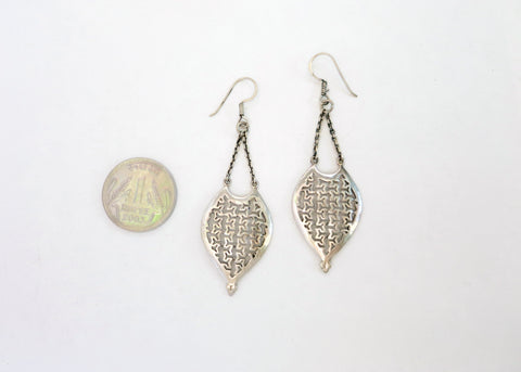Artistic, long, hanging, cut-work lattice earrings (PBE-1024-ER)  Earrings Sterling silver handcrafted jewellery. 925 pure silver jewellery. Earrings, nose pins, rings, necklaces, cufflinks, pendants, jhumkas, gold plated, bidri, gemstone jewellery. Handmade in India, fair trade, artisan jewellery.