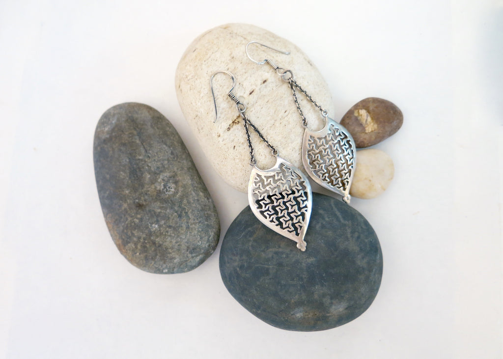 Artistic, long, hanging, cut-work lattice earrings (PBE-1024-ER)  Earrings Lai designer sterling silver 925 jewelry that is global culture inspired artisanal handcrafted handmade contemporary sustainable conscious fair trade online brand shop