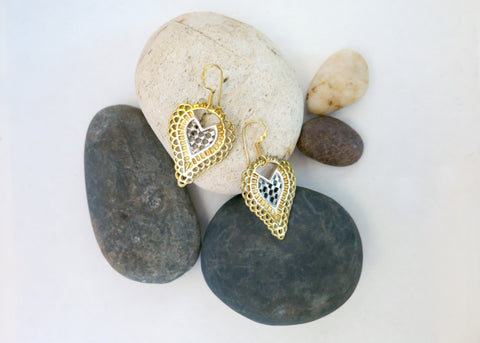 Unique, triple tone (silver, gold and black rhodium), cut-work earrings (PBE-1025-ER)