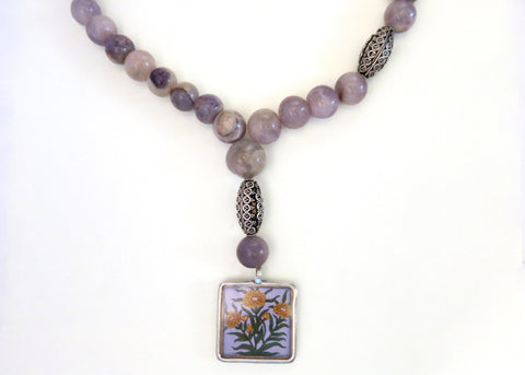 Elegant, hand-cut and polished round Amethyst beads necklace with a hand-painted floral pendant