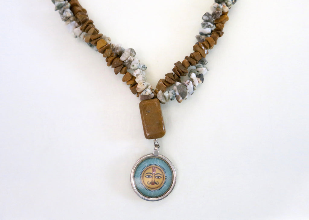 Artistic, hand-painted Sun god pendant necklace on two strings of white moss agate and jasper chips (PBE-1067-N)