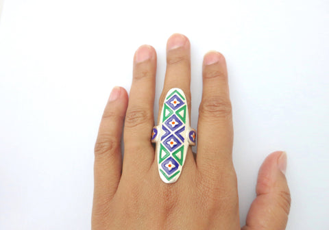 Captivating, long, Multani, enamel-work ring  Ring Sterling silver handcrafted jewellery. 925 pure silver jewellery. Earrings, nose pins, rings, necklaces, cufflinks, pendants, jhumkas, gold plated, bidri, gemstone jewellery. Handmade in India, fair trade, artisan jewellery.